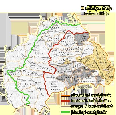 Erdély áttekintő térképe